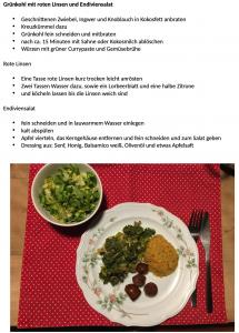 Grünkohl mit roten Linsen und Endiviensalat